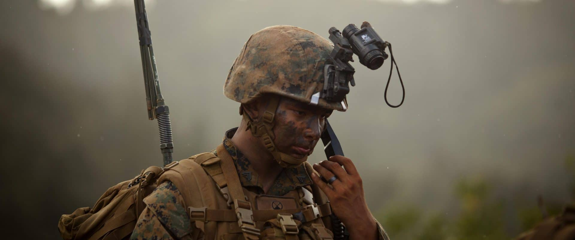 Contact, author David McCaleb, image showing US Marine talking on radio