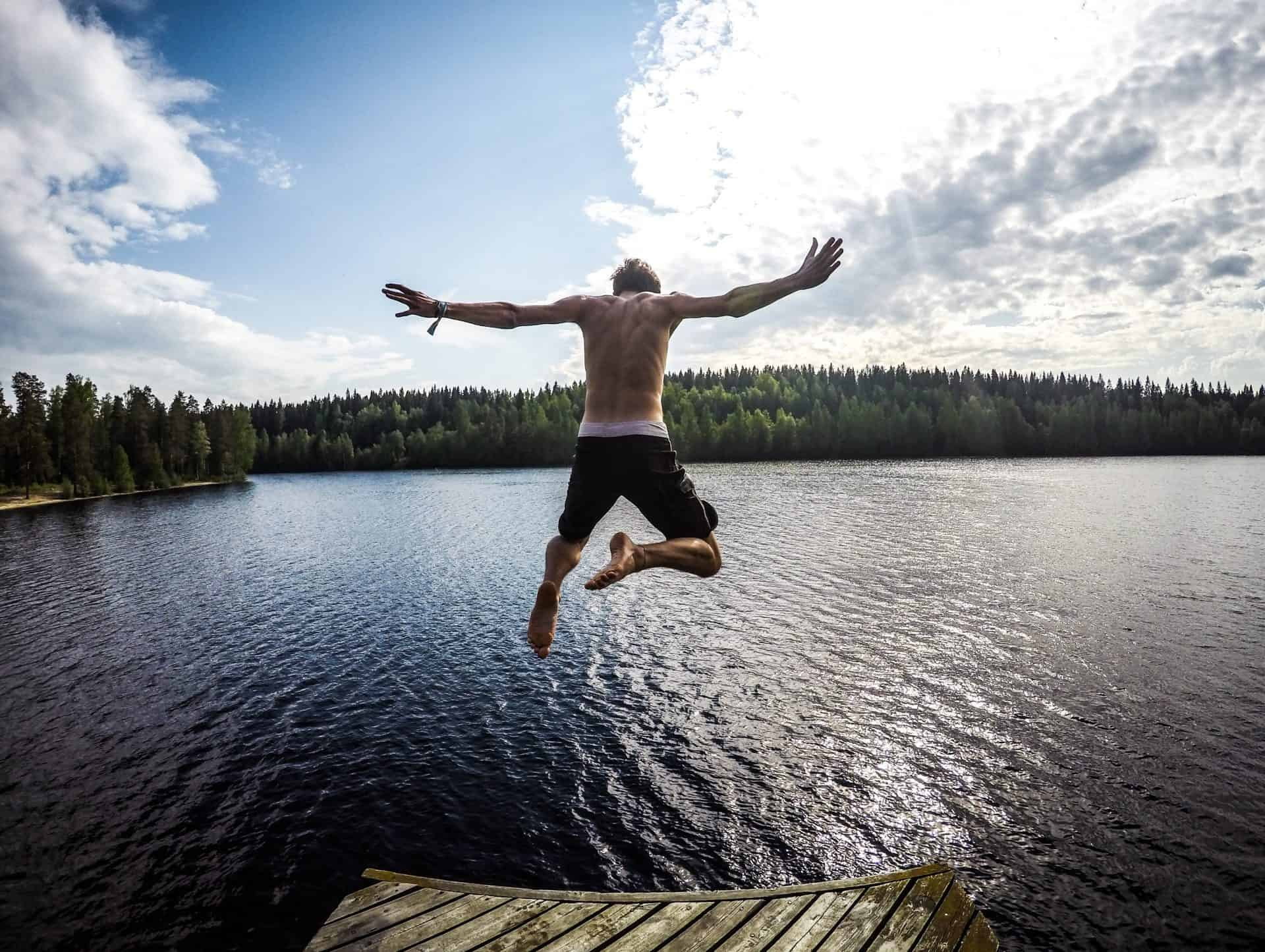 Use of sound in writing. Boy jumping into lake.