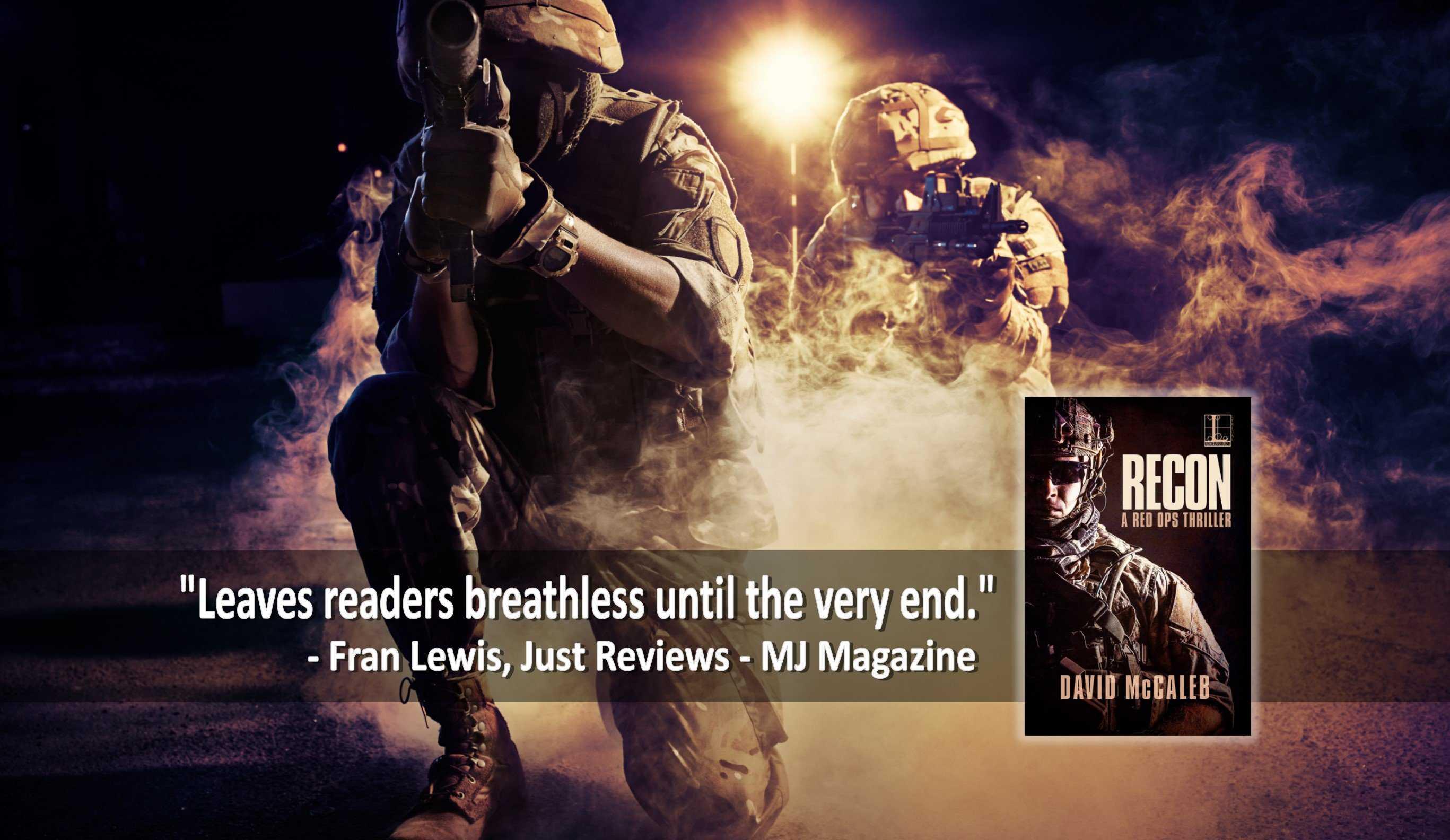 Header RECON w blurb 2, pair of military operators, night scene with smoke.