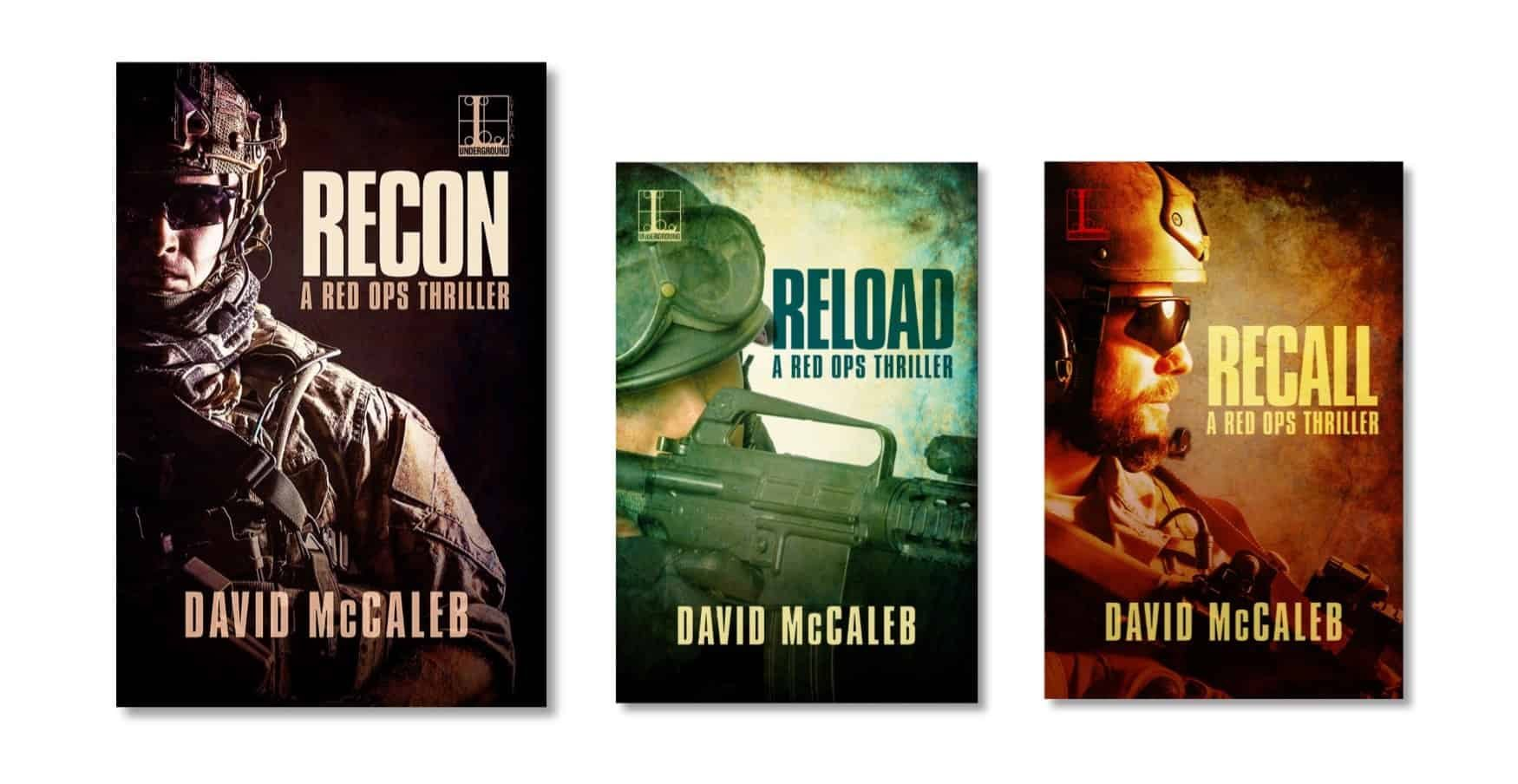 RECON book release, covers of three books in the RED OPS thriller series.
