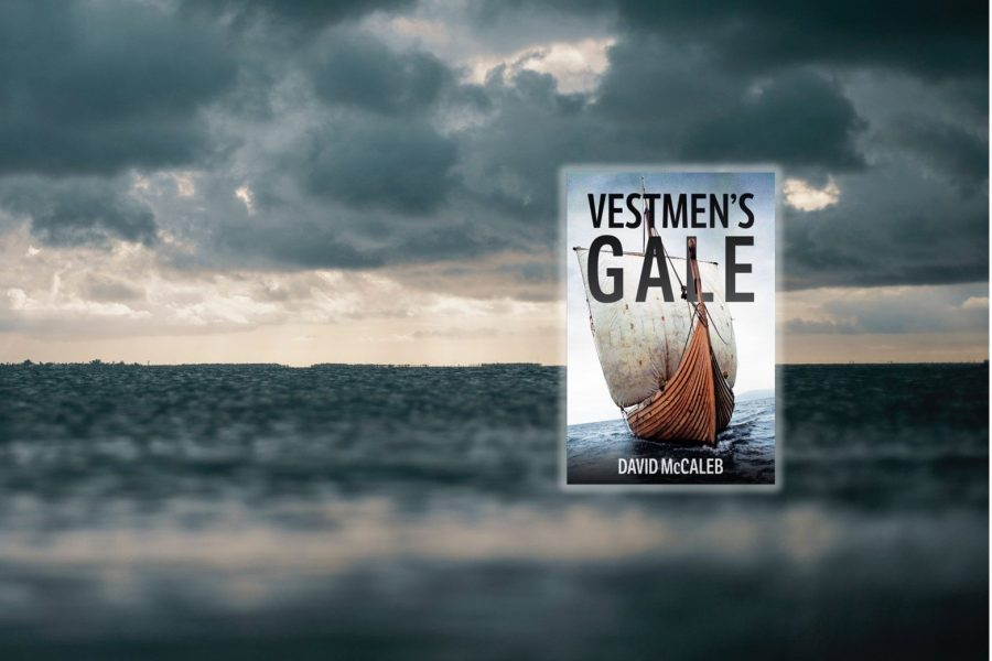 Cover of the novel Vestmen's Gale with stormy sea background.