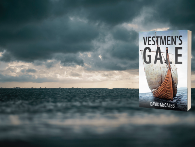 Vestmen's Gale book over stormy horizon.