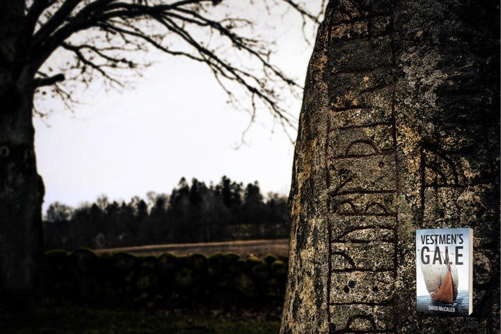 Aged runestone with Celtic letters in field with tree in background.